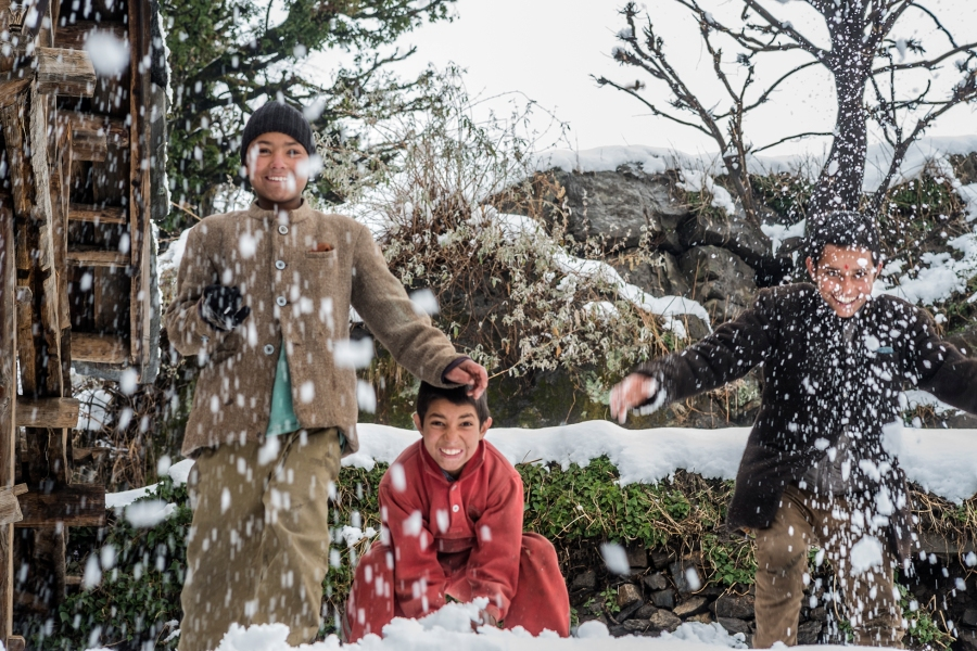 Village Kids enjoy the Snow, Kalap, India