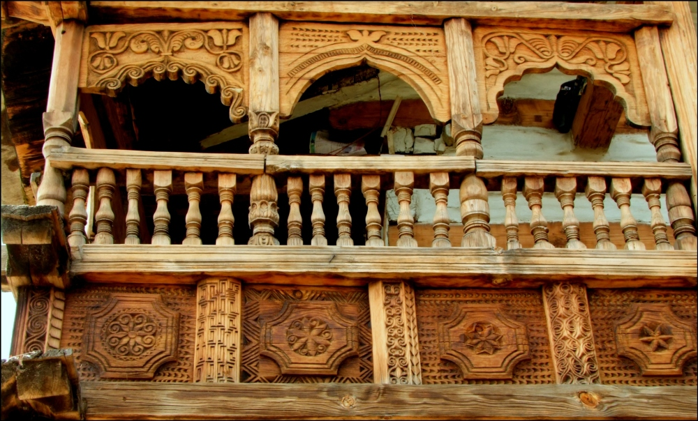 Beautiful Intricate Carving in a Wooden house