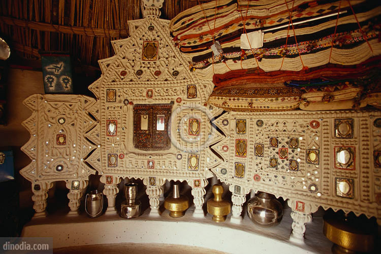 Mirror Inlay work in a Rabari Hut