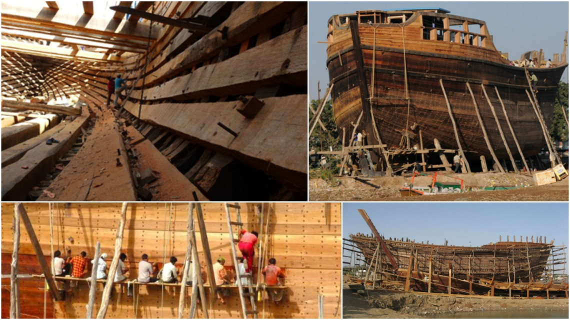 Images depicts the massive Ships being built at Mandvi Port