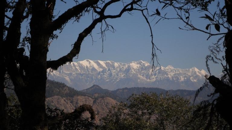 View of the Himalayan Range from the Dunagiri Temple