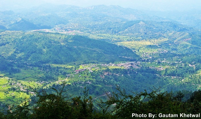 Aerial view of Dwarahat as seen from Dunagiri Temple