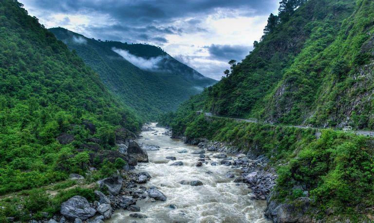 Kosi River valley as seen near Almora, Uttarakhand