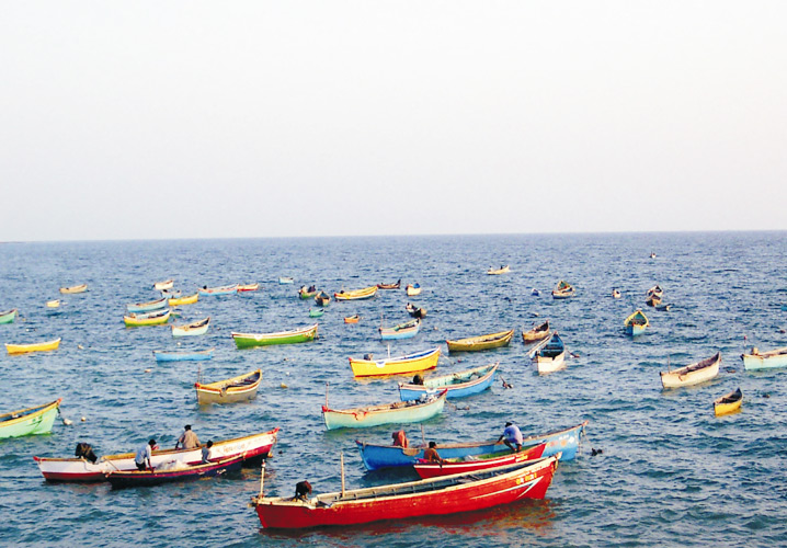Fishing Boats seen at Veraval Beach, Somnath