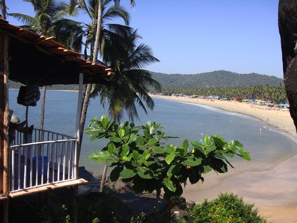 Palolem Beach as seen from Bridge & Tunnel Resort