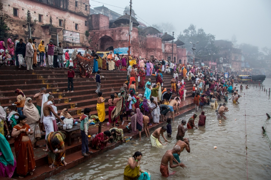 Pilgrims taking the Holy Dip at Ram Ghat, Chitrakoot