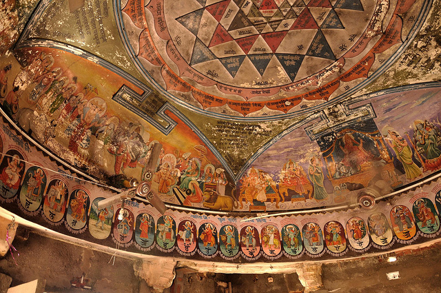 The Beautiful Paintings inside the Harsiddhi Temple (Ceiling)