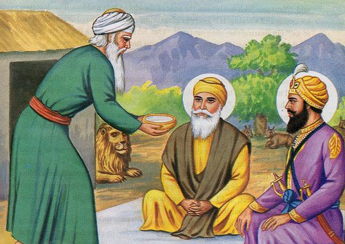 Pir Buddhan Shah offers milk to Guru Nanak Ji