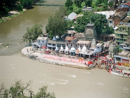 A Birds View of the Bagnath Temple located at the Confluence of 2 rivers