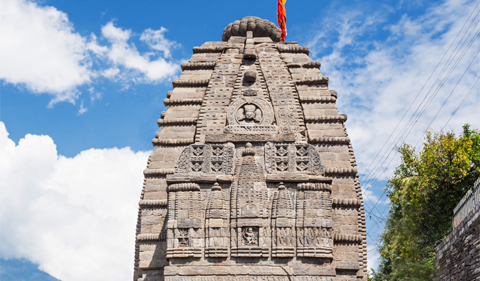 Intricate carvings seen on the Gauri-Shankar-Temple, Naggar