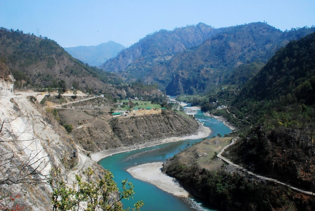 The emerald waters of Gori Ganga and Kali River as seen at Jauljibi