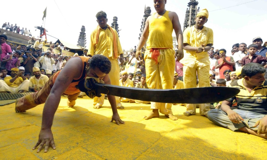 The mighty Khandoba Sword- at Jeluri Temple -Image @ puputupu.blogspot.com