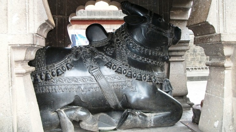Nandi protecting the Doors to Kashi Vishweshwar Temple, Wai - maharastra